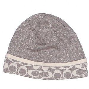 Coach Wool CC Logo Hat Beanie Beige Grey Shimmer